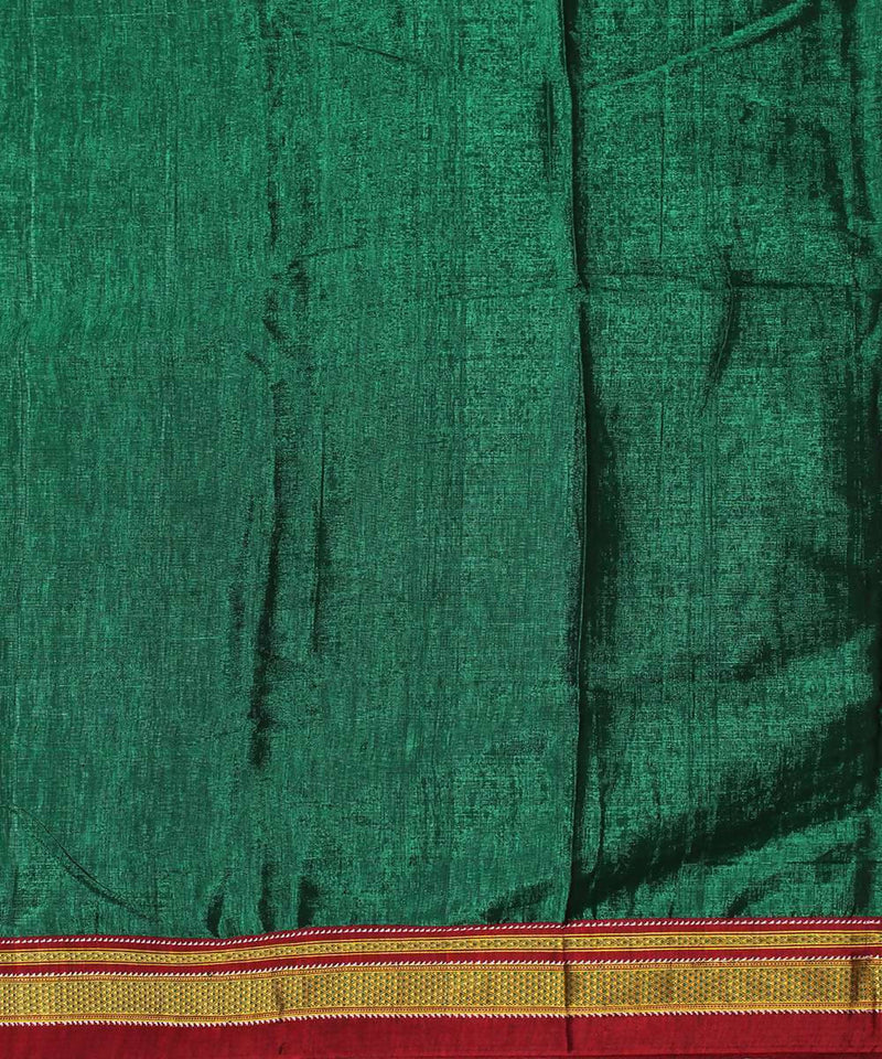 Forest green handloom magenta chikki paras border ilkal saree