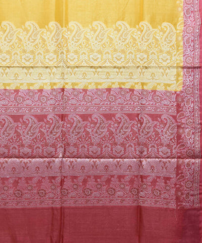 Canary yellow handloom silk banarasi saree
