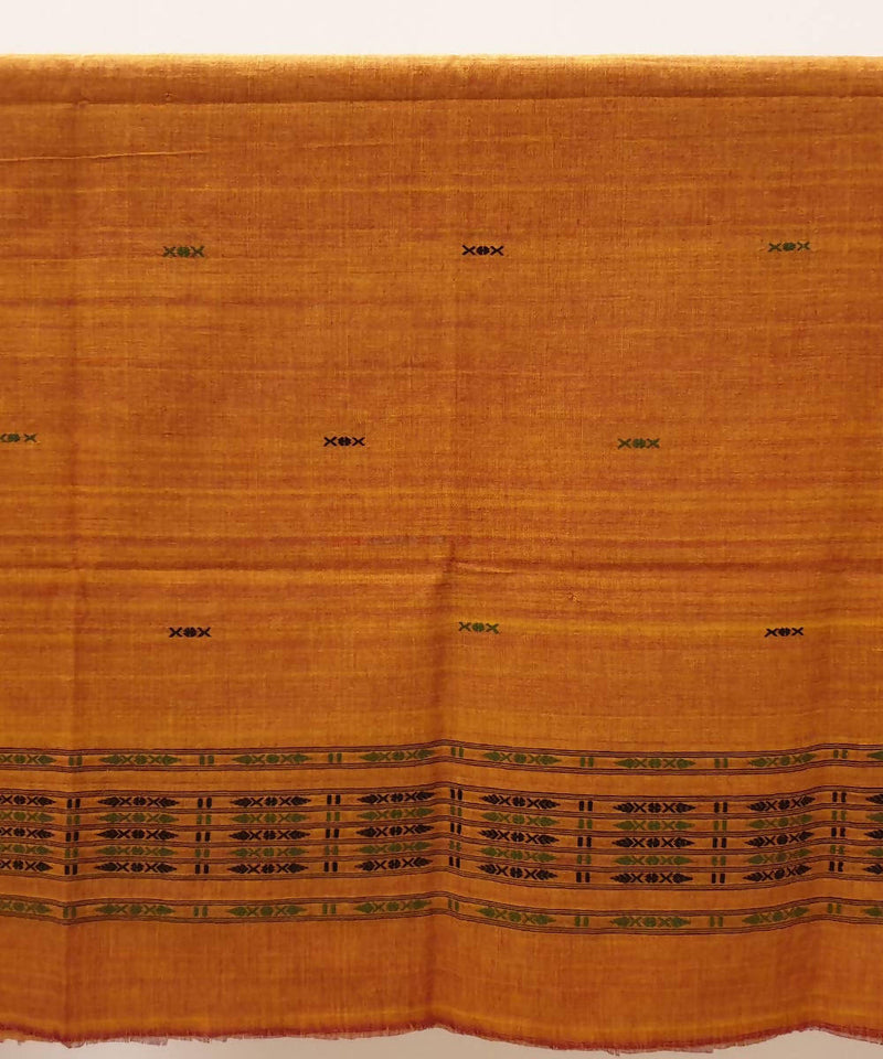 Rust orange assam handwoven cotton kurta piece