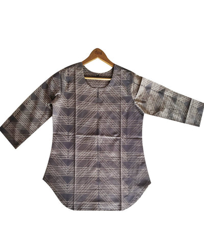 Shibori Hand Print Grey Cotton Top
