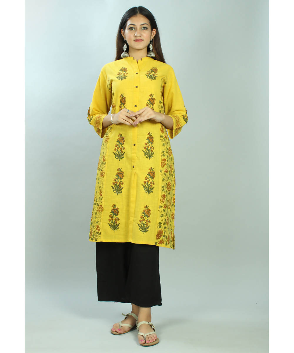 Mustard handblock printed cotton princess cut kurti