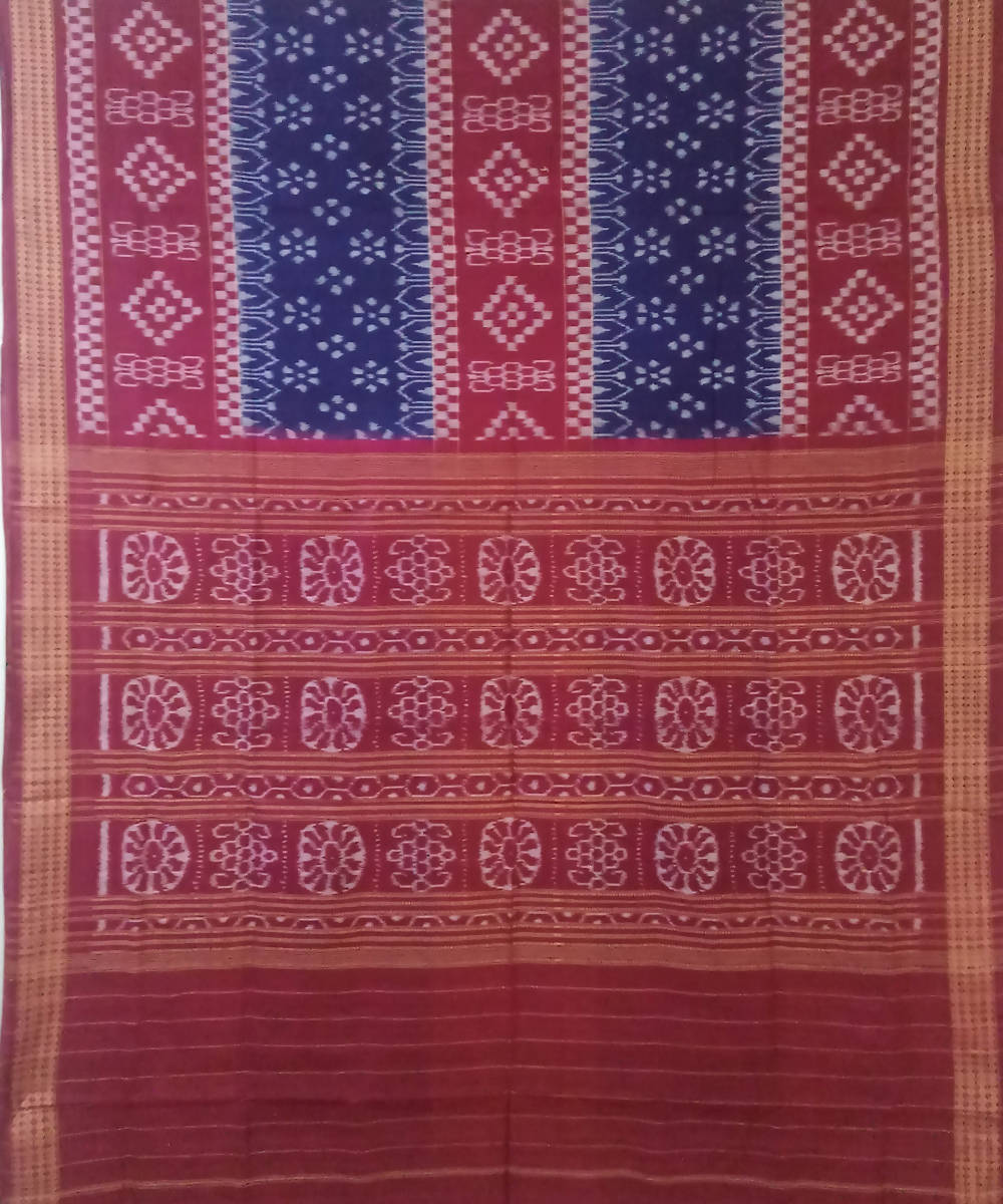 Blue Dark Red Sambalpuri Cotton Ikat Saree