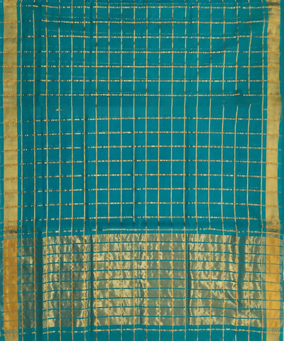 Teal zari checks Handwoven Cotton Venkatagiri Saree