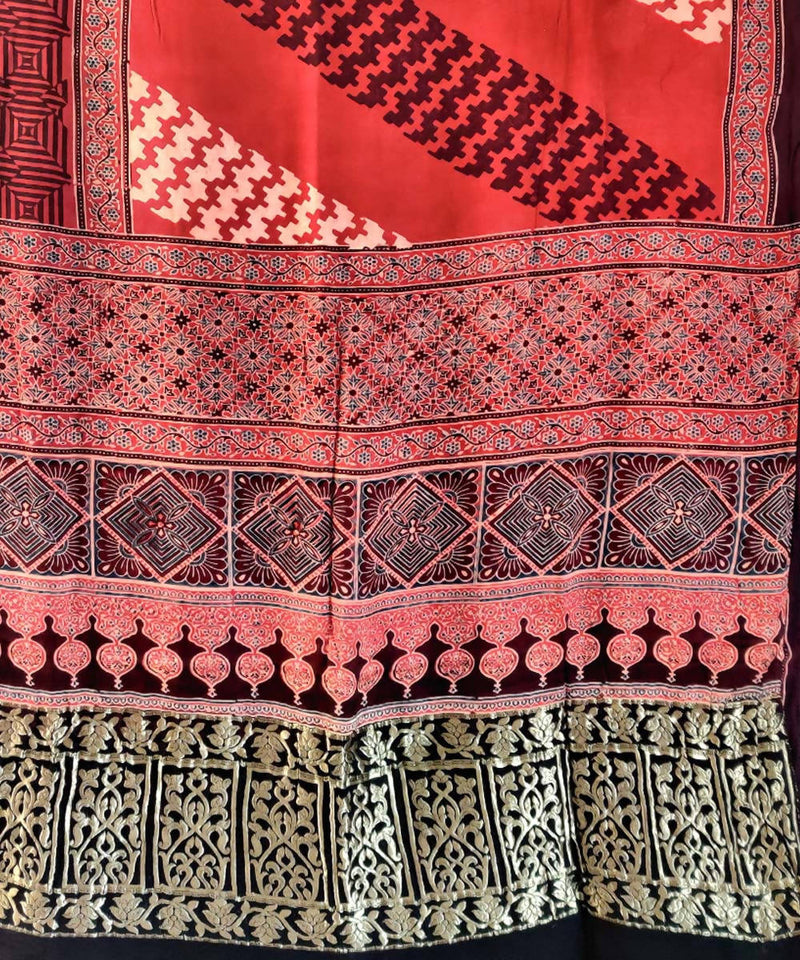 Red ajrakh hand block print silk saree