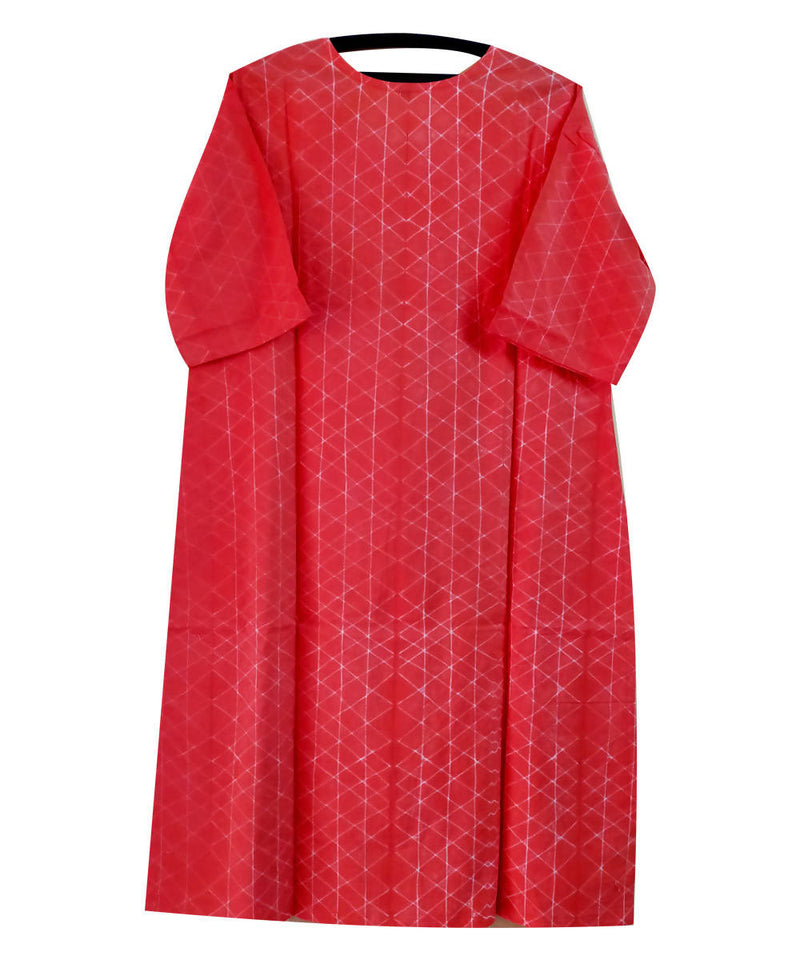 Shibori Hand Printed Candy Red Cotton Kurta