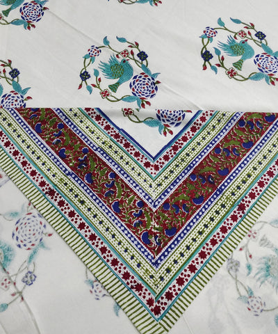 Bird Motif Handblock Printed Cotton Bedsheet