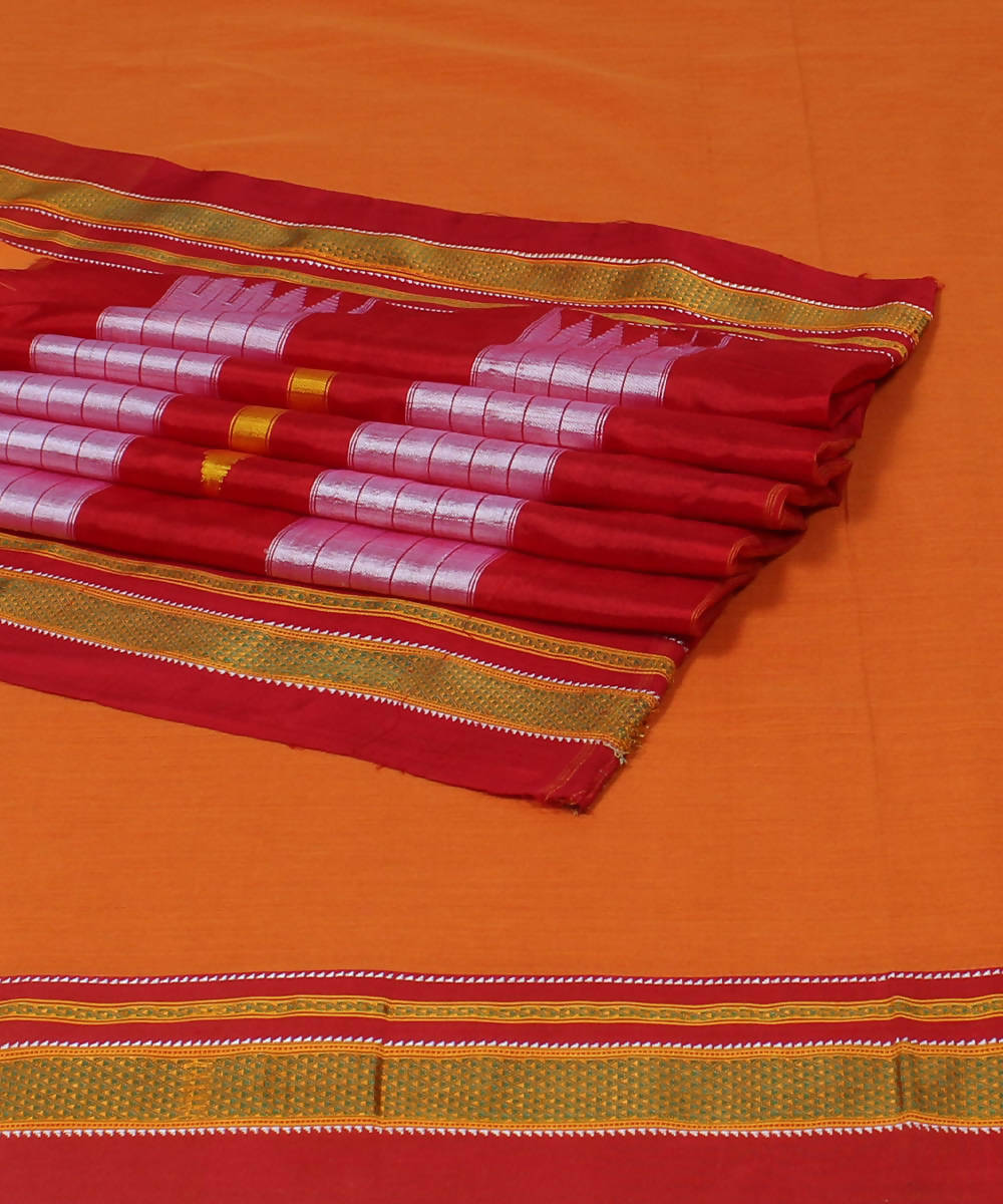 Orange Red Handloom Ilkal Cotton Saree