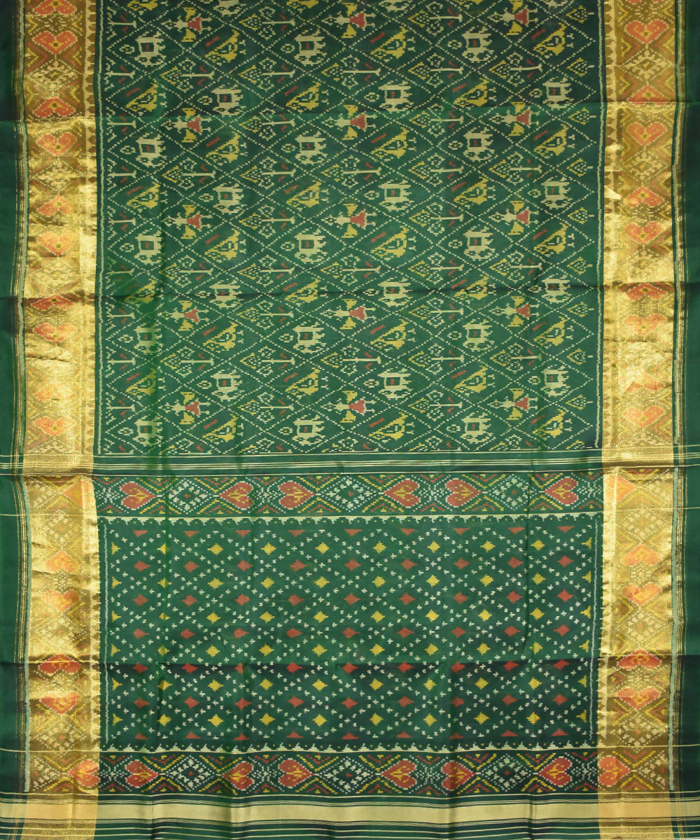 Handloom Dark green Patola Silk Ikat Saree