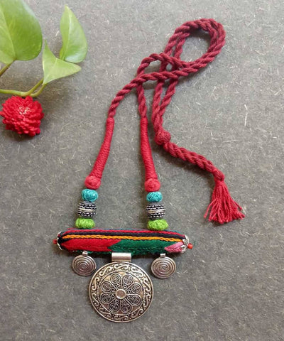 Multicolor lambani hand embroidered german silver pendant necklace