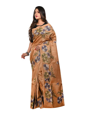 Brown Handloom Tussar Kantha Stitch Saree