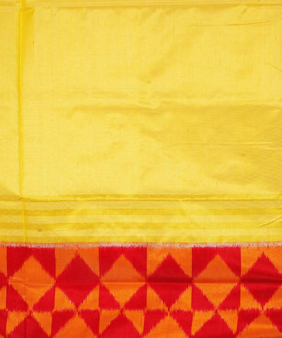 Cream Red Handloom Ikkat Silk Saree