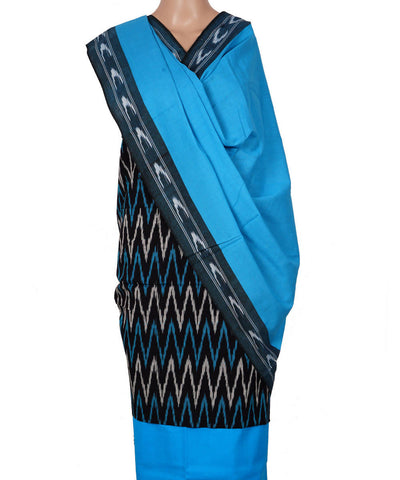 Black Sky Blue Handloom Ikkat Cotton Suit Set