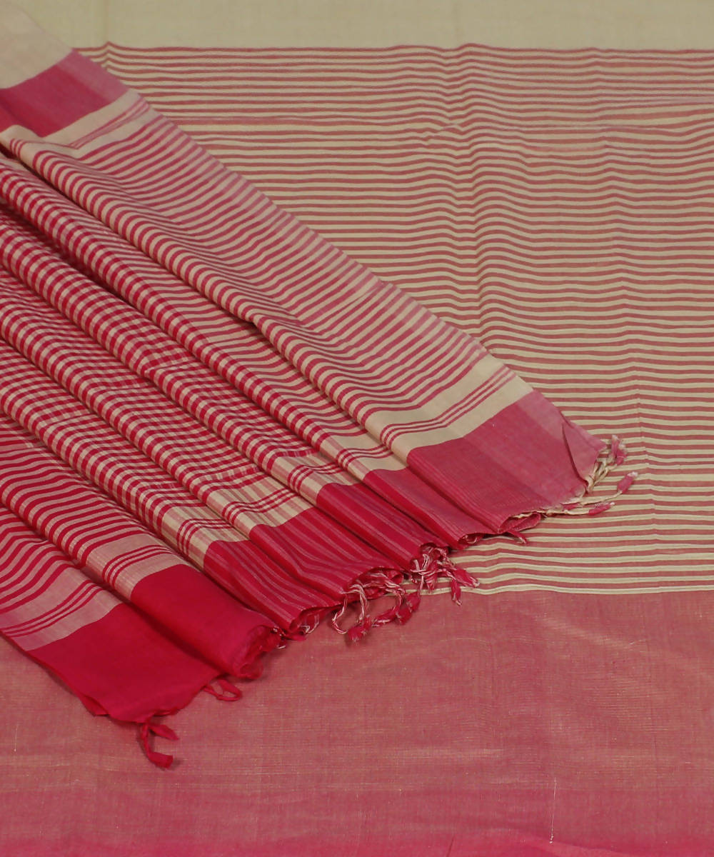 Handloom Cream Pink Mangalgiri Cotton Saree