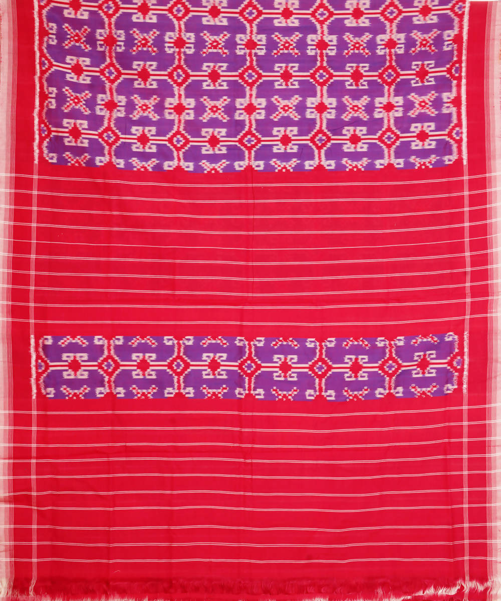 Purple Red Handloom Double Ikat Cotton Saree