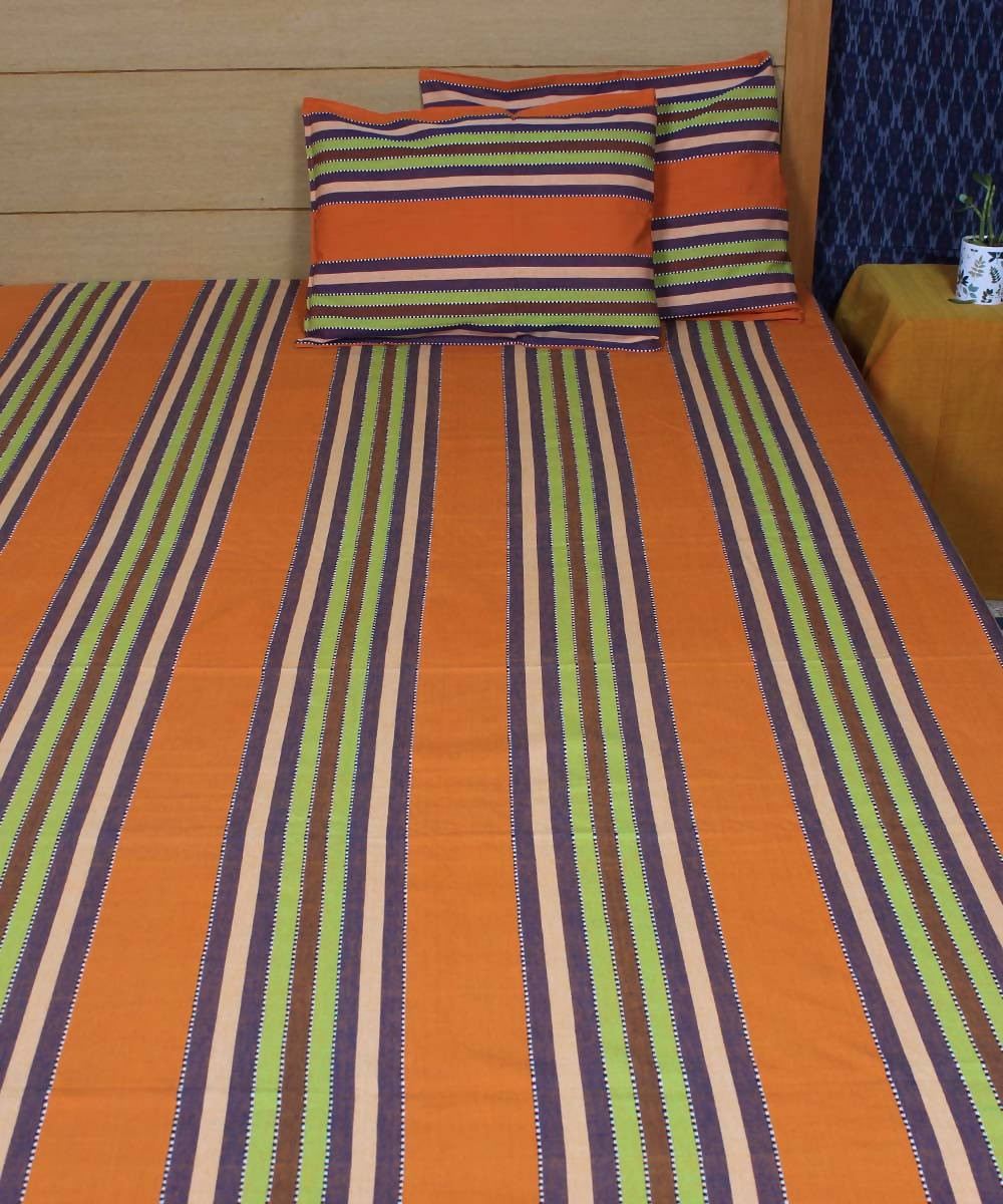 Orange Stripe Handloom Cotton Bed Cover