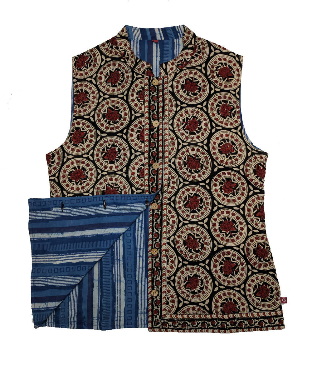 Blue and brown hand block printed cotton reversible jacket