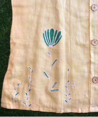 Pale yellow Hand embroidery linen jacket