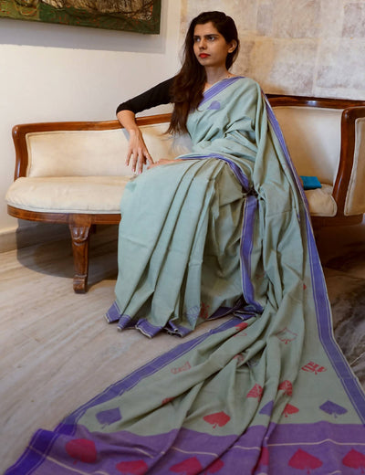 Bavanbuti Handwoven Light Green Cotton Saree