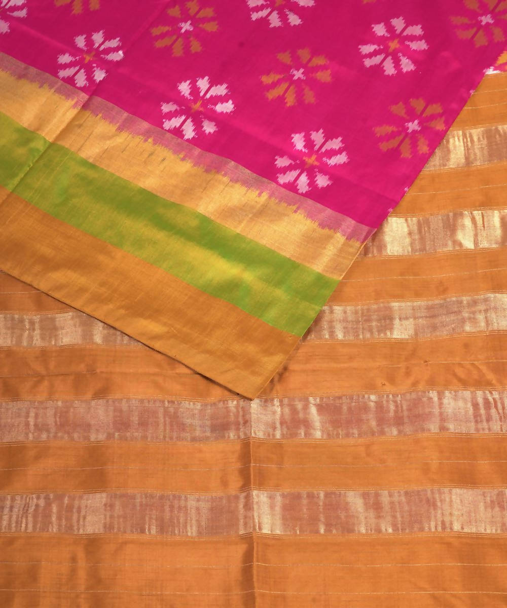 Handloom Pink Pochampally Ikkat Silk Saree