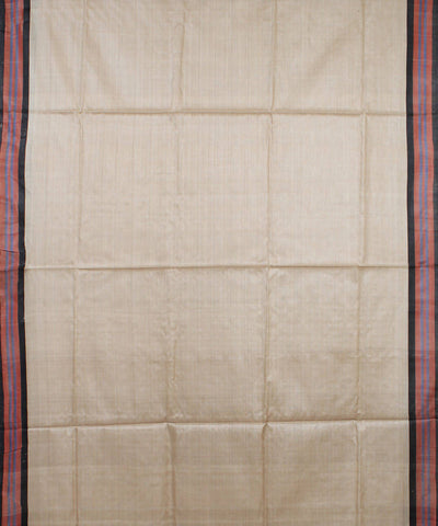 Beige and Black Handloom Tussar Silk Saree
