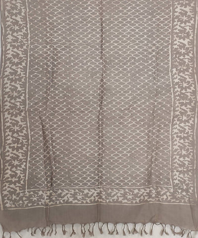 grey white Kashish dye Daabu block Print on Handloom Cotton Stole
