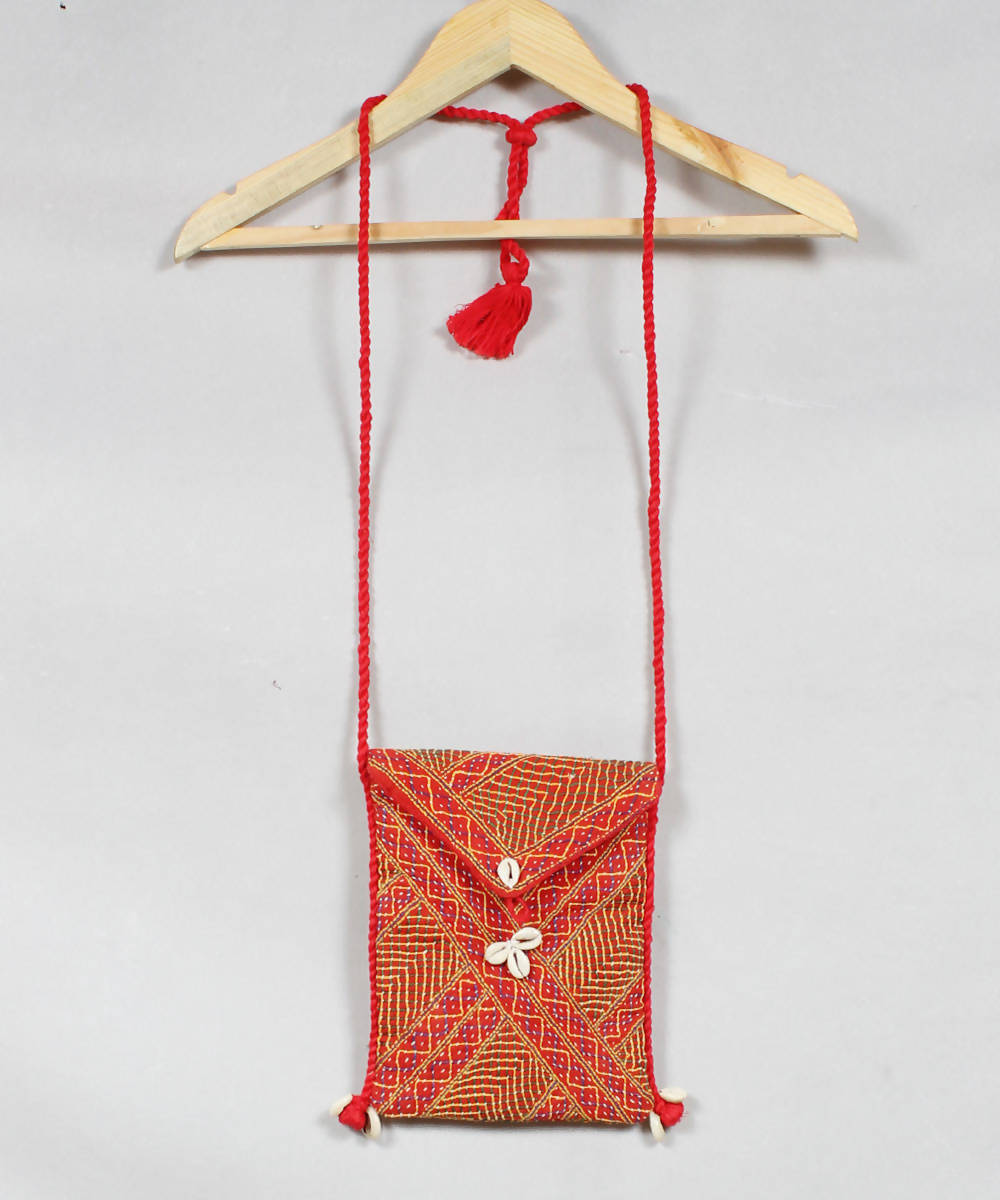 Lambani Embroidery Red Orange Sling Bag