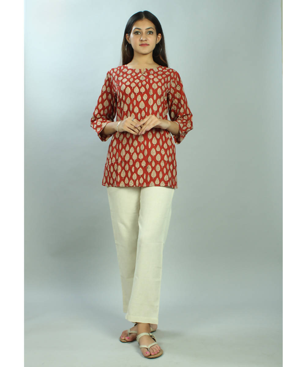 Red leaf motif handblock printed short cotton tunic