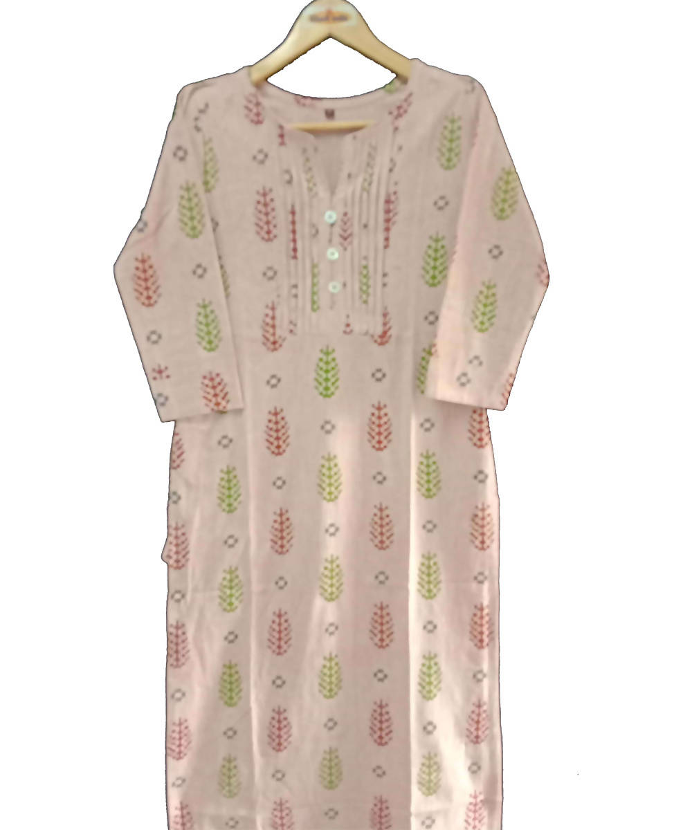 Light peach printed handspun handwoven cotton kurti