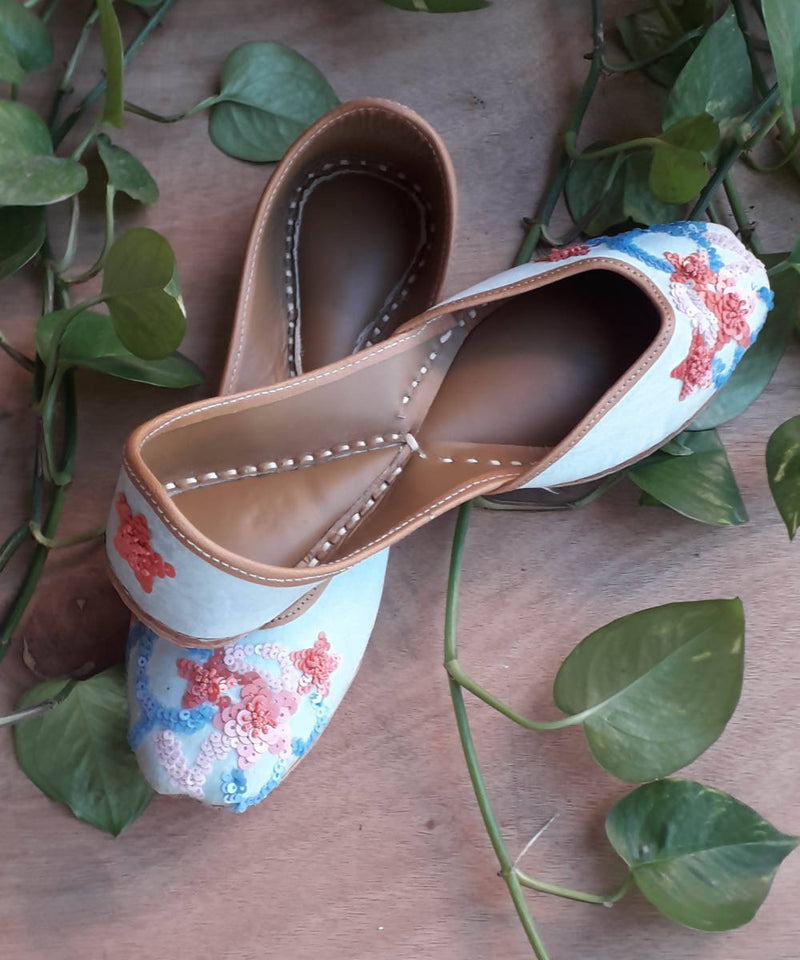 MOANA Light Blue Handcrafted Jutti