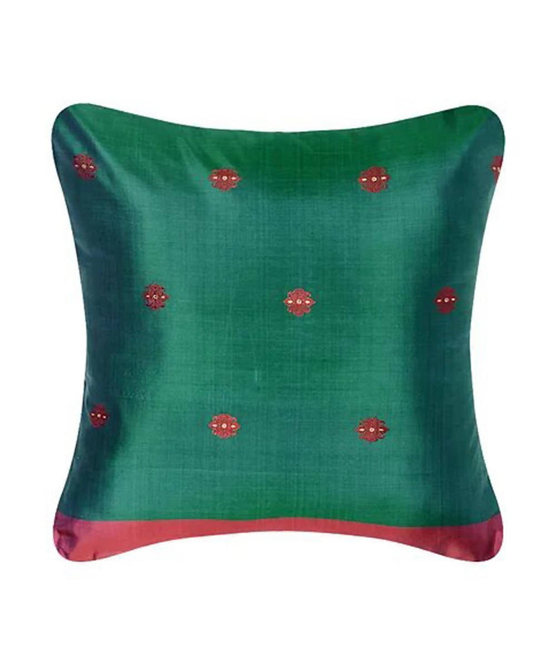 Blue green silk baluchari cushion cover