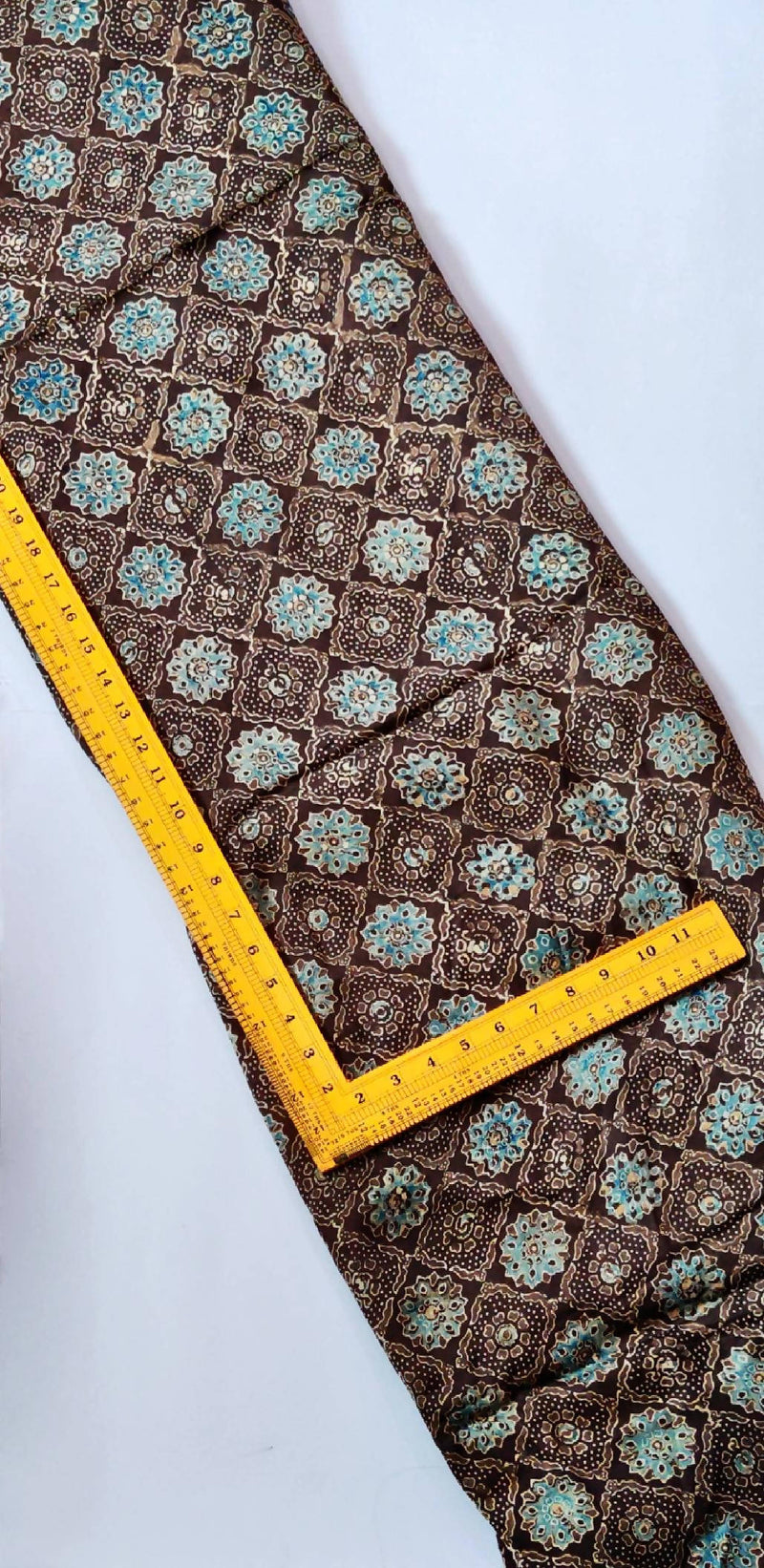 Brown with royal blue ajrakh modal silk handblock printed fabric