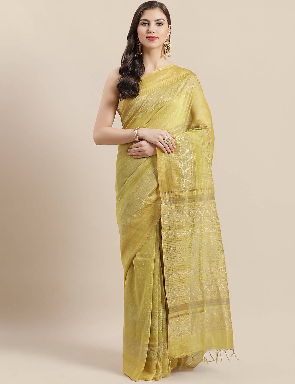 Yellow golden handwoven linen handblock printed saree