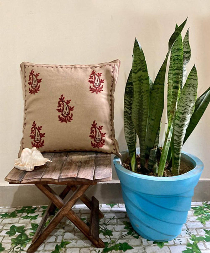 Block print with hand embroidery beige cushion cover