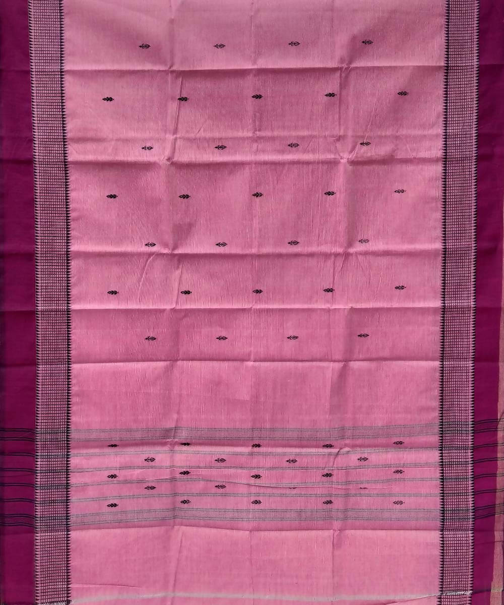 Pink peach handwoven tamil nadu cotton saree