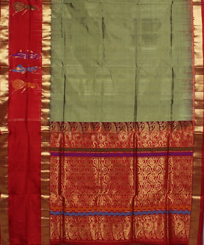 Grey Green Khadi Handloom Silk Saree