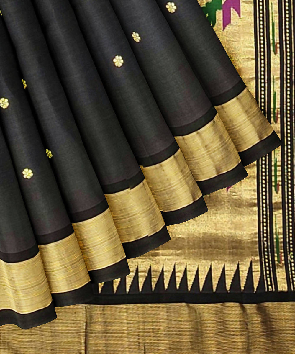 Charcoal Black Handloom Paithani Cotton Saree