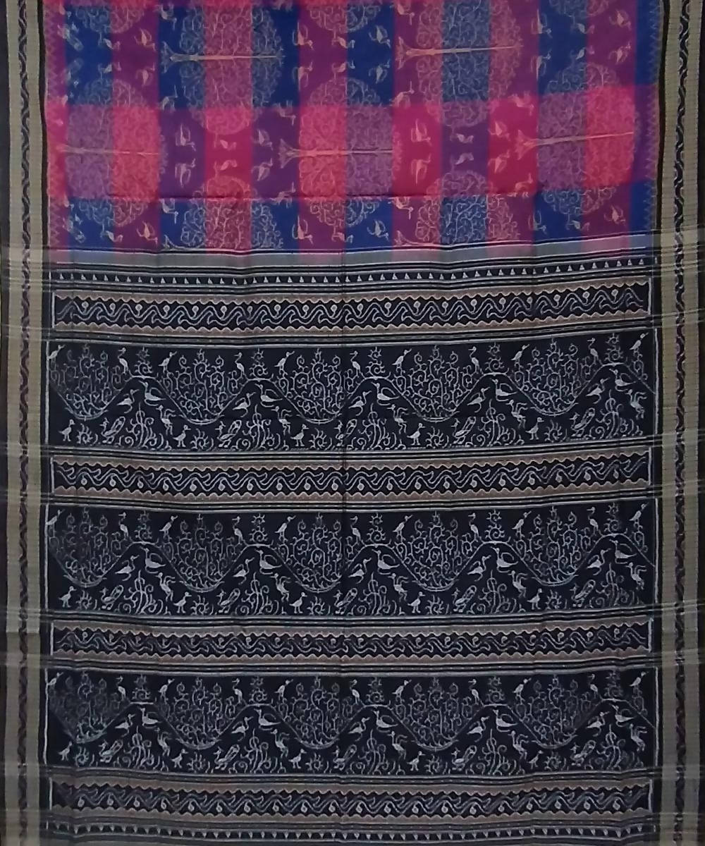 Multicolor black handwoven cotton sambalpuri saree