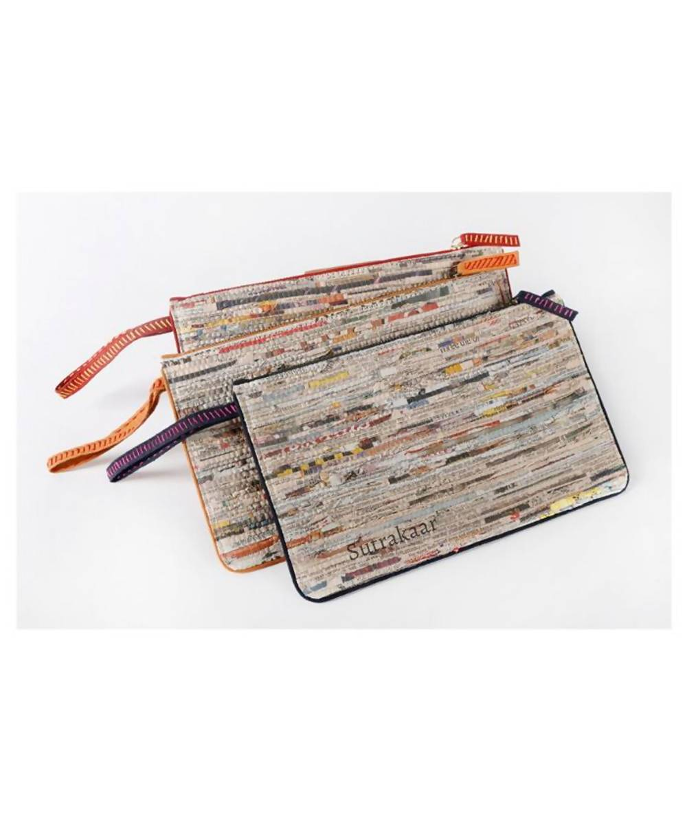 Handmade Newspaper Cotton Wristlet
