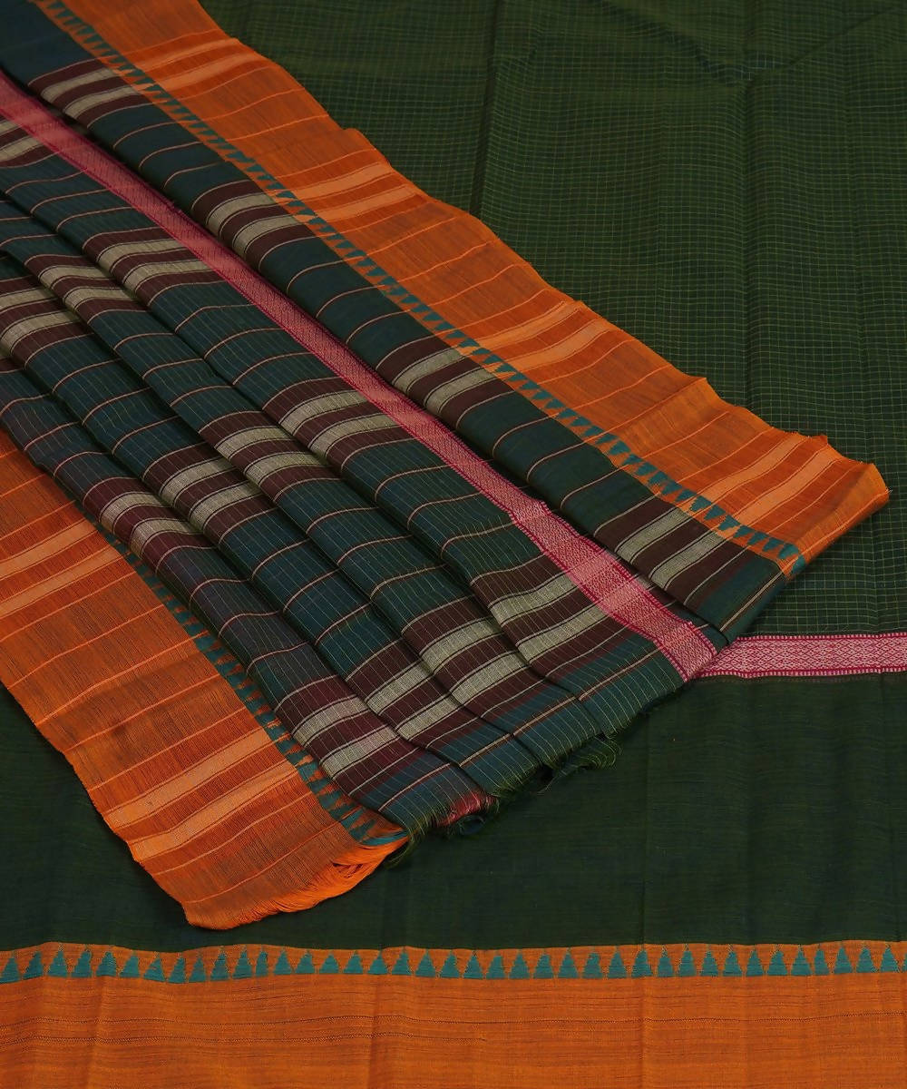Handloom Grey Green Narayanpet Cotton Saree