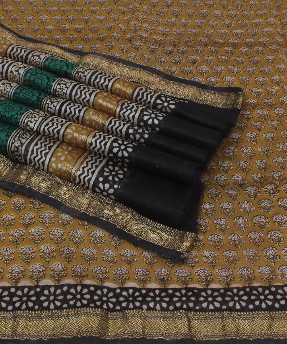 Brown Hand Block Print Maheshwari Saree