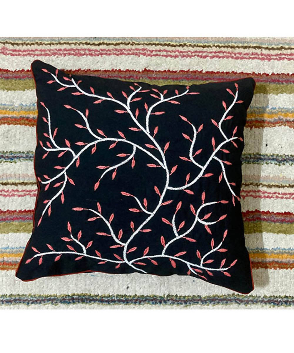Black hand embroidery cushion cover