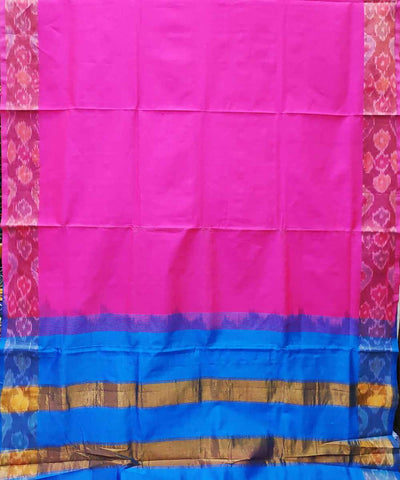 Light Pink and blue Handwoven Venkatagiri Cotton silk saree
