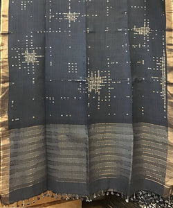 Dark Grey Natural Dye Handwoven Jamdani Cotton Saree