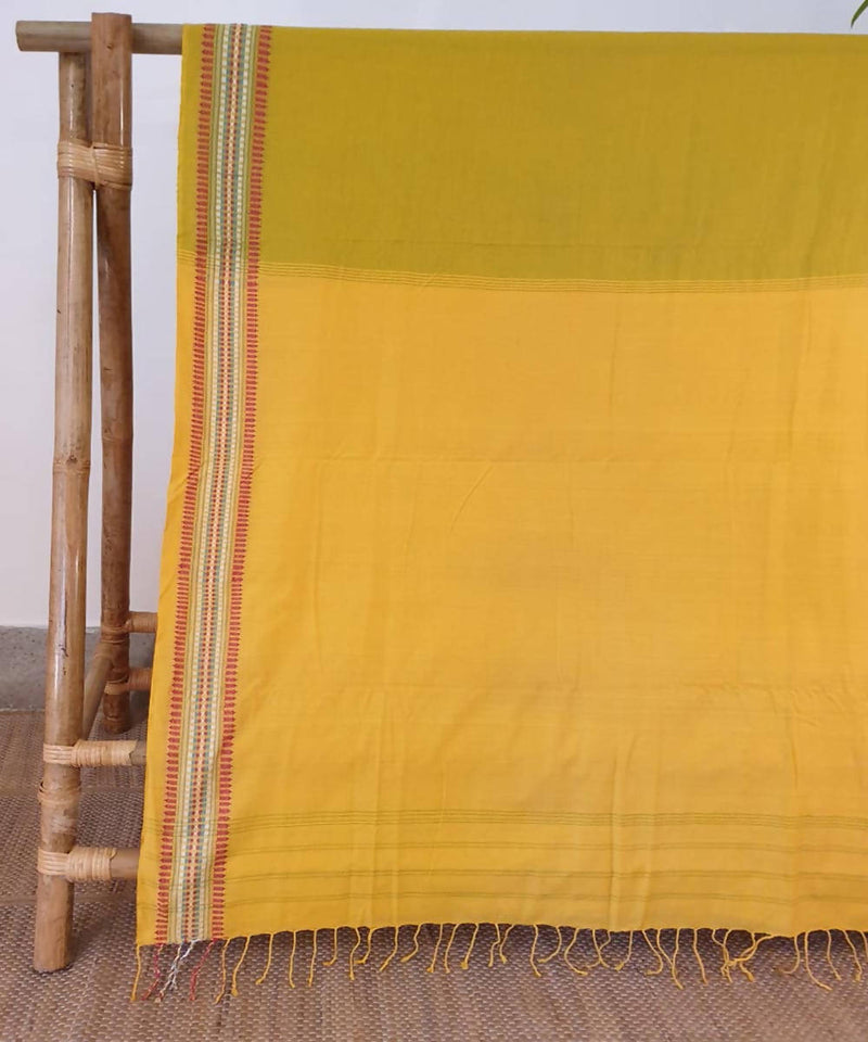 Pear green and yellow assam handloom cotton saree