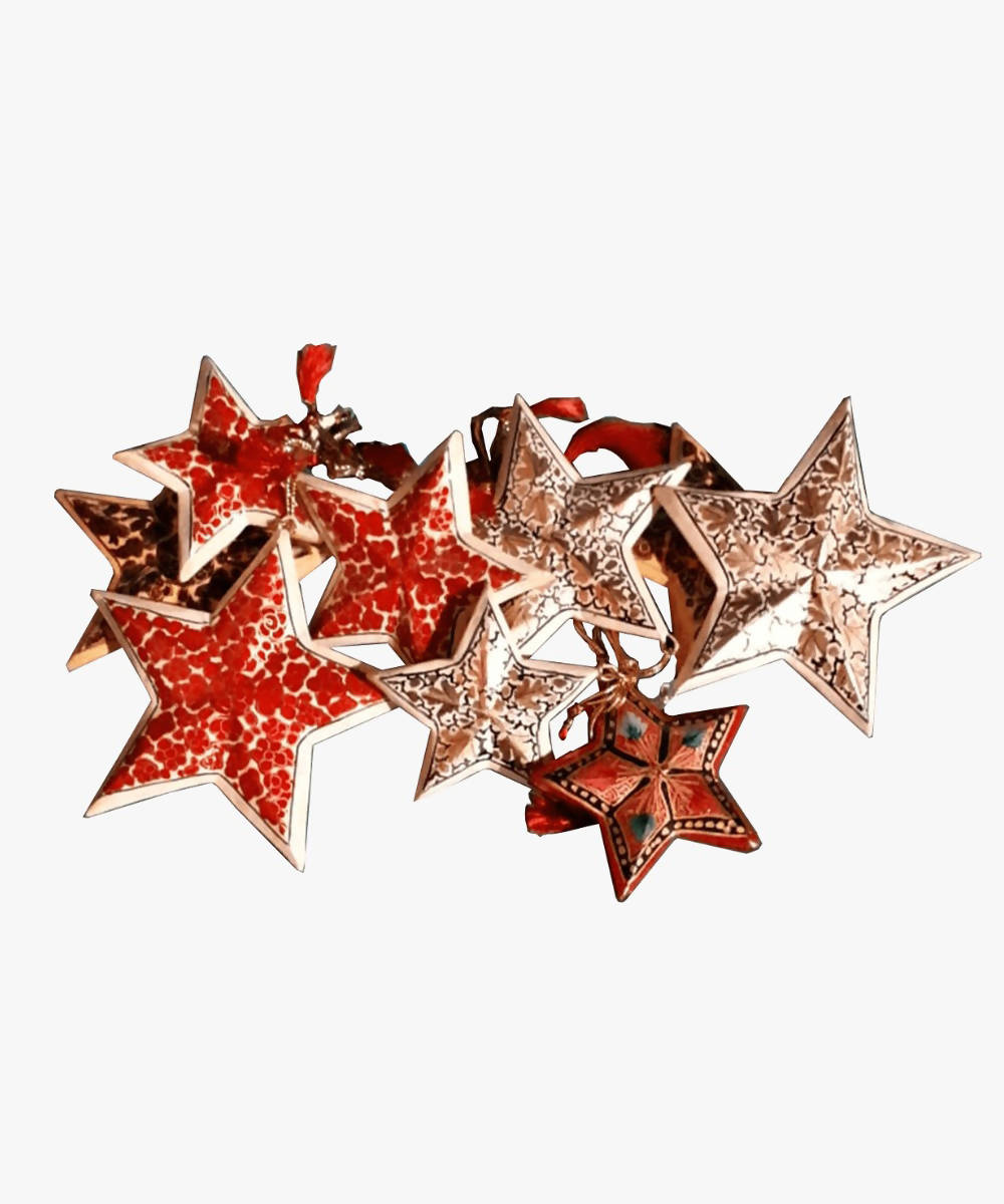 Assorted stars hand painted soft wood decors (set of 3) (s, m, l)