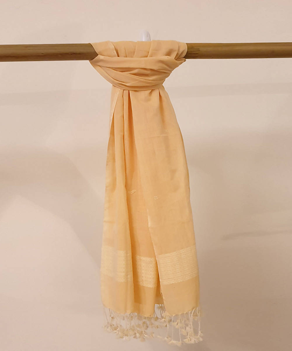 light orange peach handloom cotton dupatta