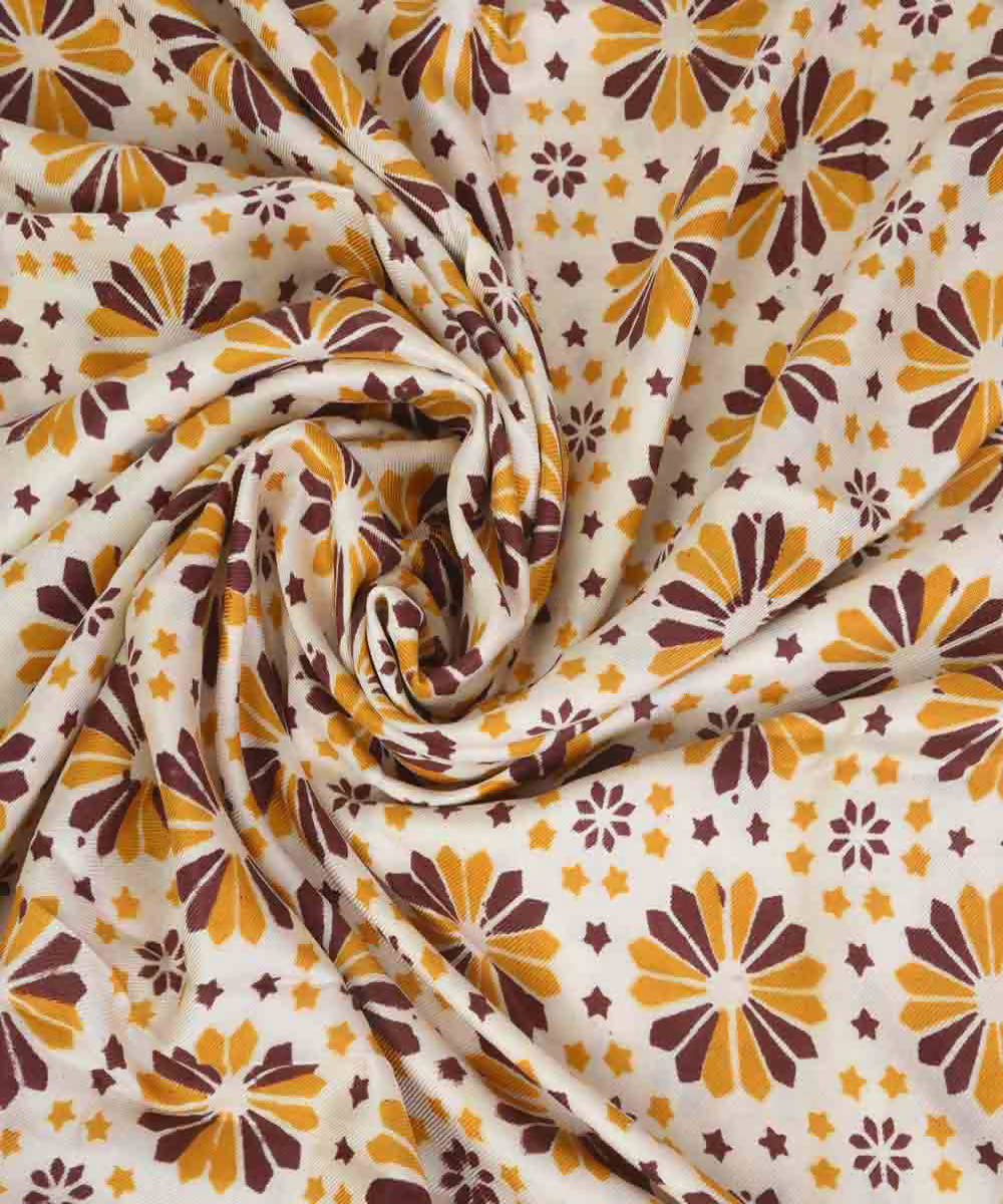 Yellow handblock print eri silk kurta material and dupatta set