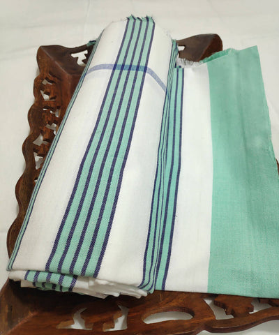 Blue white green stripes handwoven cotton towel