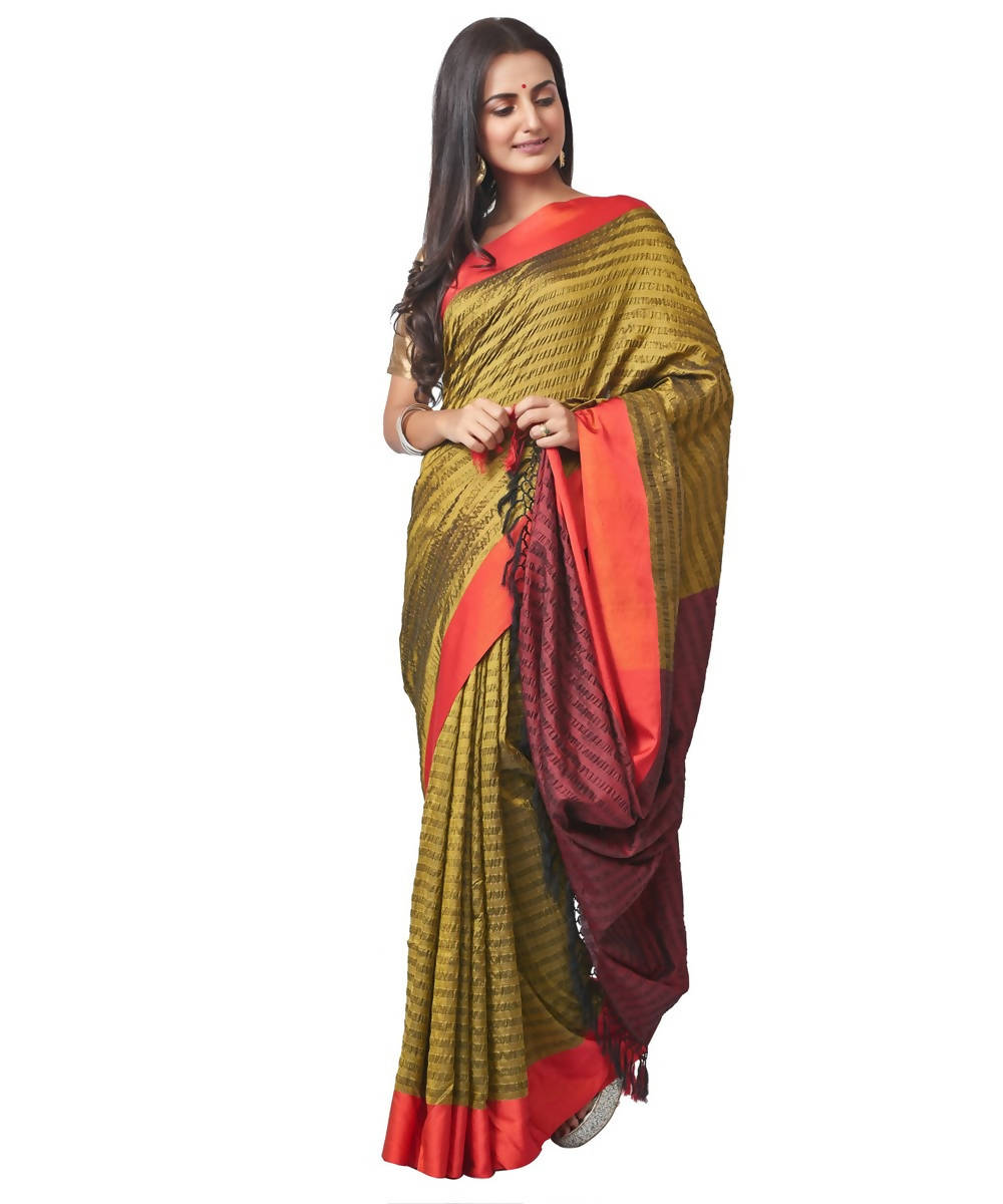 Biswa bangla handloom olive green seer sucker silk saree
