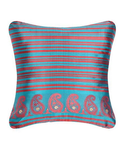 Red blue silk baluchari cushion cover